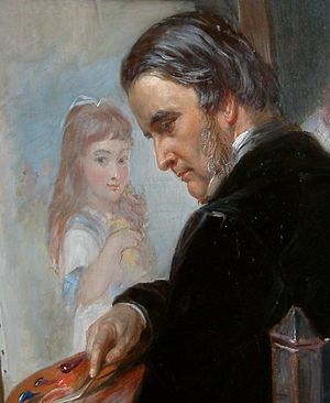 Edward Matthew Ward - Self-portrait by Ward, depicted working on a portrait of one of his daughters