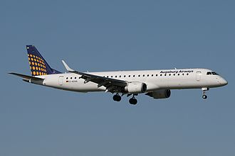Augsburg Airways - An Augsburg Airways Embraer 190 on final approach at Amsterdam Airport Schiphol in 2010.