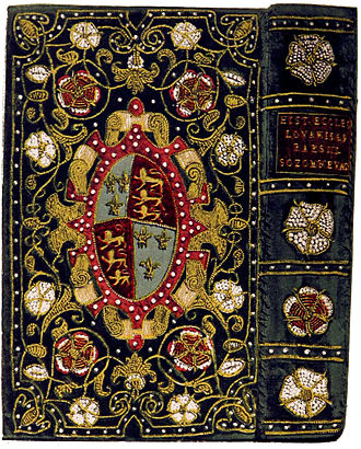 Treasure binding - Restored 16th century binding of velvet embroidered with pearls for Elizabeth I, on a volume of church history.