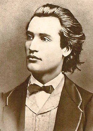 Mihai Eminescu - Portrait of Mihai Eminescu. Photograph taken by Jan Tomas in Prague, 1869