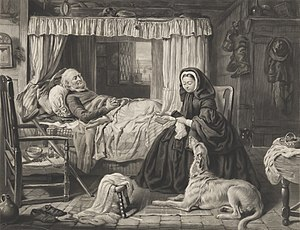 """Gourlay Steell - An engraving of """"Queen Victoria reading Bible to sick fisherman"""" originally by Gourlay Steell"""