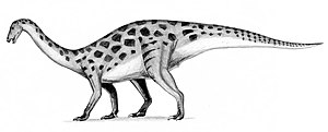 Therizinosaur - Outdated reconstruction of a quadrupedal and prosauropod-like Erlikosaurus. Therizinosaurs were often depicted this way until more complete specimens were found