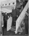 Ernest Bevin, British Minister for Foreign Affairs, arrives at Gatow Airport in Berlin, Germany to attend the Potsdam... - NARA - 198916.tif
