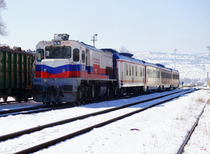 Eskişehir-Afyon Regional - A southbound train at Alayunt in 2012.