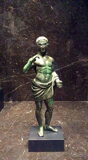 Contrapposto - Etruscan statuette, from Italy, 3rd to 1st century BCE, bronze