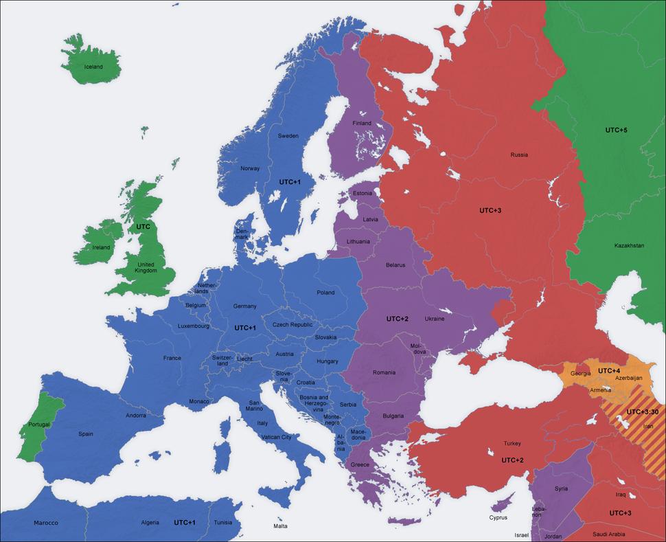 Europe time zones map en