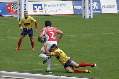 Portugal playing Romania in 2008 European Sevens 2008, Portugal vs Romania, David Mateus tackle.jpg