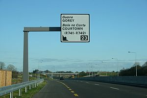 National primary road - N11 Junction 23; new standard exit sign for restricted access roads in Ireland. This route has since been reclassified as a motorway