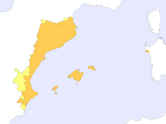 Catalan Countries - Map of catalan language domain