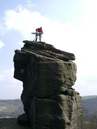 Extreme ironing - Starch Extreme Ironing on Rivelin Needle.   Rivelin Rocks, United Kingdom