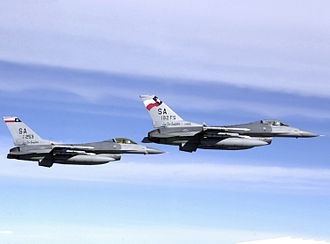 Kelly Field Annex - F-16C Block 25F/30F Fighting Falcon fighters (s/n 85-1403, 87-0253) from the 182d Fighter Squadron, 149th Fighter Wing, Texas Air National Guard.