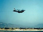 F4U-4 of VMF-214 takes off from Pusan 1951.jpg