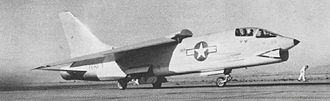 "Vought F-8 Crusader - F8U-1 Crusader BuNo 141435 and Commander ""Duke"" Windsor depart China Lake for a successful speed record attempt, 21 August 1956."