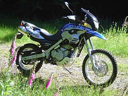 Blue and white F650GS Dakar bike parked on open ground with tall grass and foxglove flowers