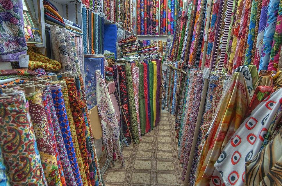 Fabric displays in Souq Waqif