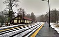 Facing west at Belmont Center station, January 2015.jpg