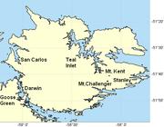 East Falkland showing San Carlos bridgehead, Teal Inlet, Mt Kent and Mt Challenger