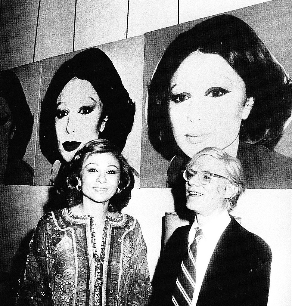 Farah Pahlavi and Andy Warhol in Tehran Museum of Contemporary Art, 1977