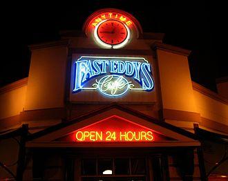 Fast Eddys - The Fast Eddys logo above the entrance to Fast Eddys in the Perth CBD