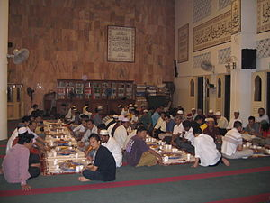 People gathered to break fasting