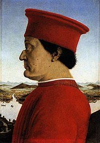 Federico III da Montefeltro, Duke of Urbino. Portrait by Piero della Francesca, 1492.