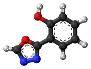 Ball-and-stick model of the fenadiazole 3D ball.png molecule