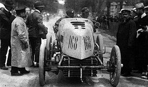 Auto racing - Fernand Gabriel driving a Mors in Paris-Madrid 1903