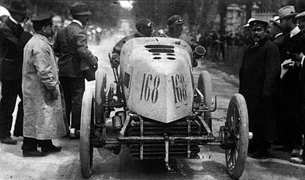 Fernand Gabriel driving a Mors in Paris-Madrid 1903 Fernand Gabriel Mors Paris-Madrid 1903.jpg