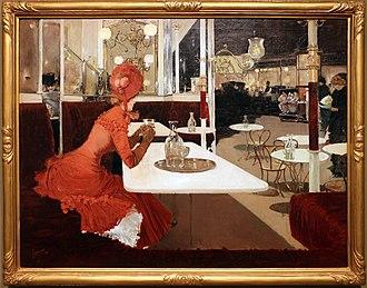 Fernand Lungren - Il cafè, painting by Fernand Lungren, 1882-84