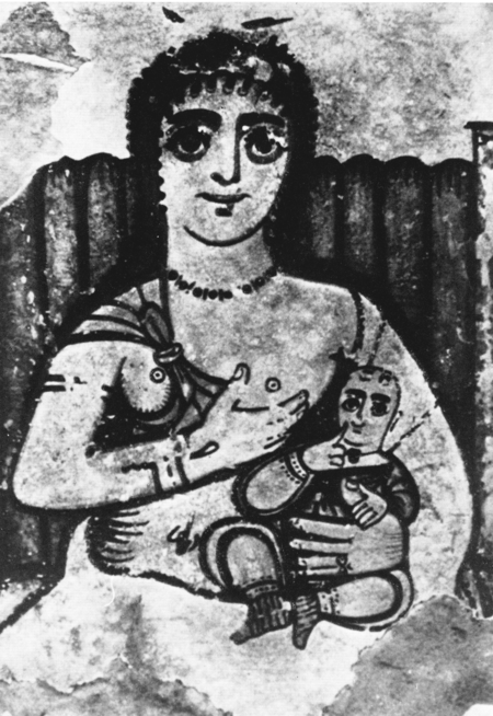 Painting of a seated woman with a child in her lap, offering one of her breasts to the child