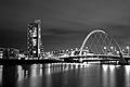 Finnieston Bridge Glasgow BW at night.jpg