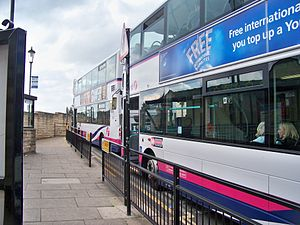 First Leeds buses at Wetherby bus station.jpg
