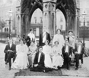 Siegfried Sassoon - Sassoon (front) with his brother Hamo and other students on the morning after a college May Ball at Cambridge University in 1906