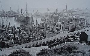 Milford Haven - Fishing fleet laid up in Milford docks during coal miners strike, 1921