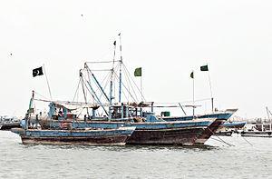 Fishing in Pakistan - A docked fishing vessel at Karachi Fish Harbour