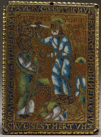 """Gog and Magog - Image: Flemish Ezekiel's Vision of the Sign """"Tau"""" (Ezekiel IX 2 7) Walters 44616 (cropped)"""