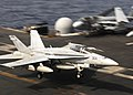 Flickr - Official U.S. Navy Imagery - A jet prepares to trap the arresting wire..jpg