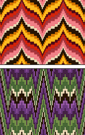 "Bargello (needlework) - Two examples of Bargello patterns (Florentine work). The top is a typical curved Bargello motif. The bottom image is a ""flame stitch"" motif similar to that found in the Bargello museum chairs."