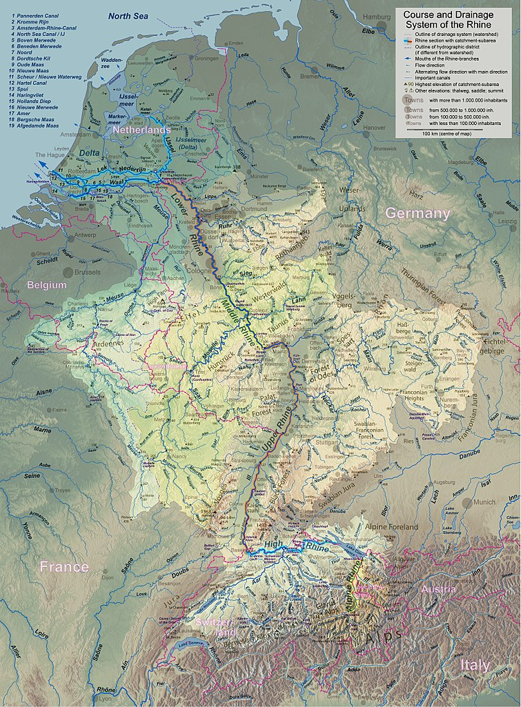 Belgium Topographic Map.Topographic Map Of The Rhine River Watershed 755x1024 Mapporn