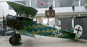 "Lozenge camouflage - A Fokker D.VII shows a four-color Lozenge-Tarnung (lozenge camouflage), and its early Balkenkreuz black ""core cross"" on the fuselage has a white outline completely surrounding it."