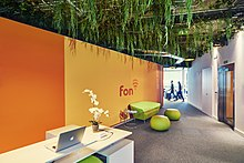 The entrance to Fon's bright HQ in Madrid
