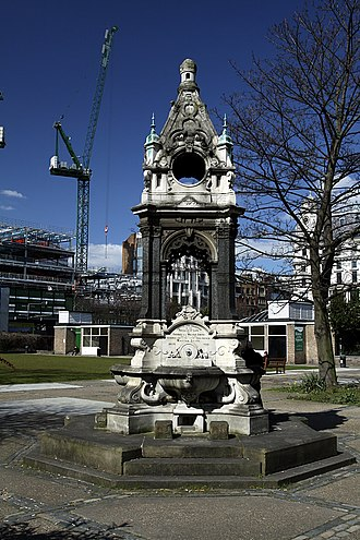 Finsbury Square - Drinking fountain on Finsbury Square, commemorating Tom Smith, inventor of the Christmas cracker