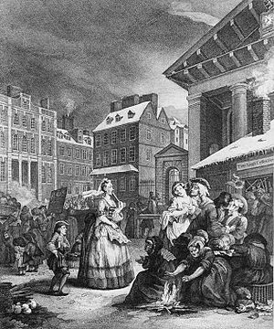 English coffeehouses in the 17th and 18th centuries - Hogarth's depiction of a fight breaking out in Tom King's Coffee House, in his 1736 painting Four Times of the Day