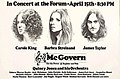 Four for McGovern poster with venue information and list of ushers. Pictured is Carole King, Barbra Streisand and James Taylor.jpg