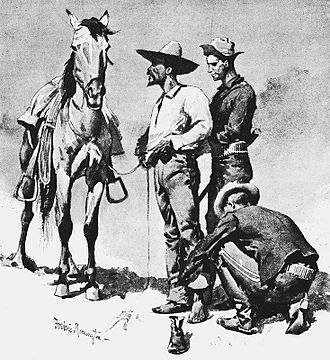 Garza Revolution - Third Cavalry Troopers Searching a Suspected Revolutionist, by Frederic Remington.