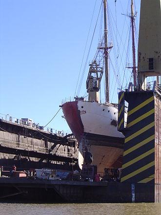 Río Santiago Shipyard - Sail ship Libertad, during mid-life refurbishing at the Rio Santiago Shipyard, April 2006
