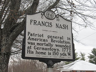 Francis Nash - Highway Historical Marker near Nash's home in Hillsborough, North Carolina