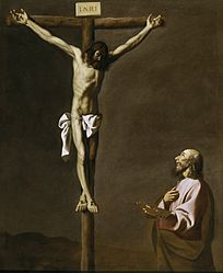 Francisco de Zurbarán : Saint Luke as a painter, before Christ on the Cross