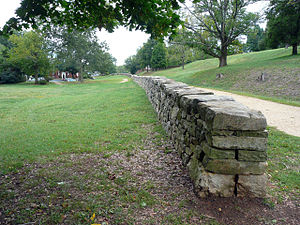 56th Infantry Regiment (United States) - Stone wall at base of Marye's Heights, where the Union 17th Regiment suffered heavy casualties during the Battle of Fredericksburg, Dec. 14, 1862