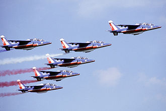 Dassault/Dornier Alpha Jet - Six French Alpha Jets of the Patrouille de France flight display team flying in formation during Air Fete '88
